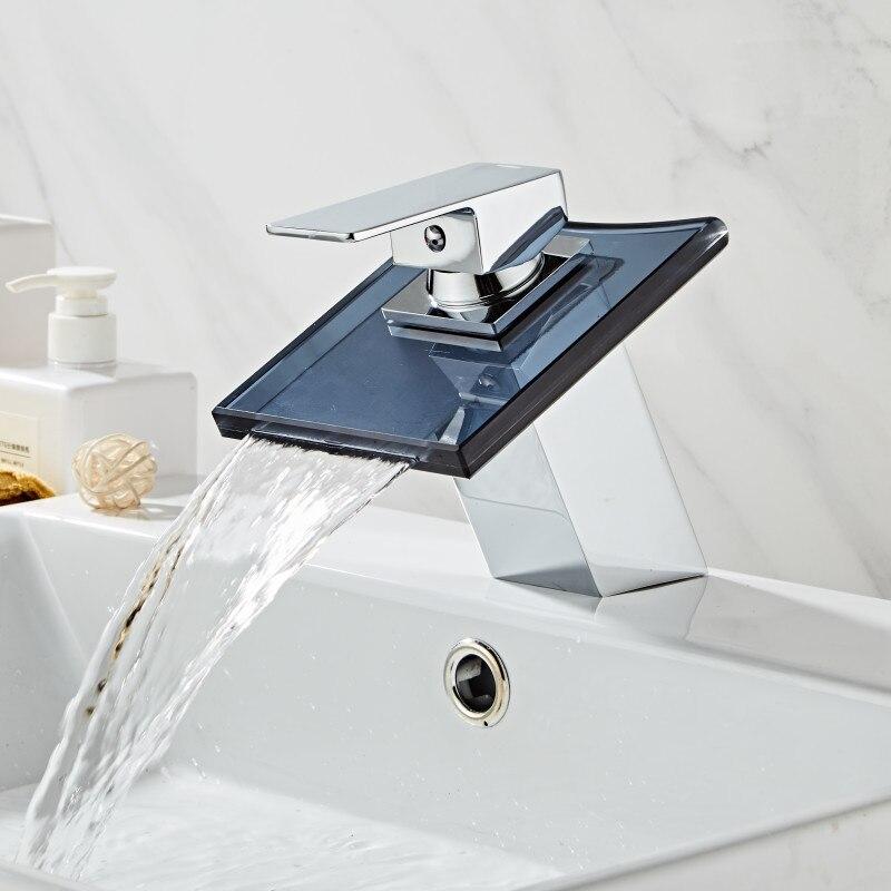 Grifo de lavabo de cascada de baño. Cascada de cristal negro Grifo de lavabo de latón. Grifo mezclador de lavabo montado en cubierta de Mezclador de Baño