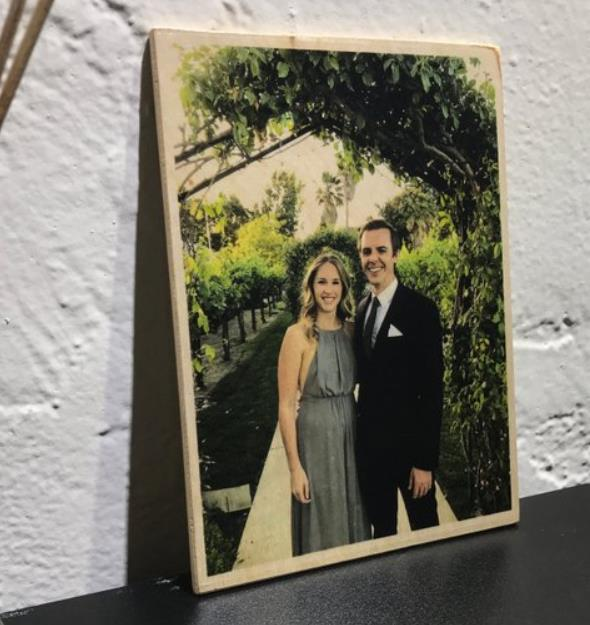 Personalizar recién casados pareja foto en adornos de madera personalizar familia Navidad madera impresión fotográfica