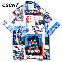 OSCN7 baskılı gömlek sokak kısa kollu 2019 yaz moda plaj erkek gömlek gevşek rahat kore Chemise Homme 661