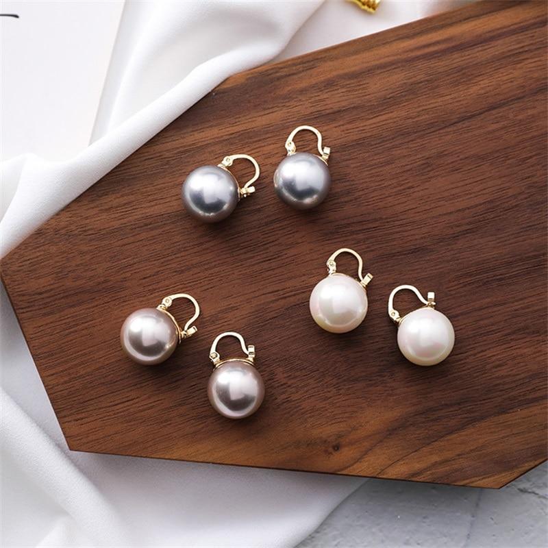 2019 ZA moda elegante creado grandes pendientes de perlas analógicas coreano Simple declaración pendientes para boda fiesta regalo joyería