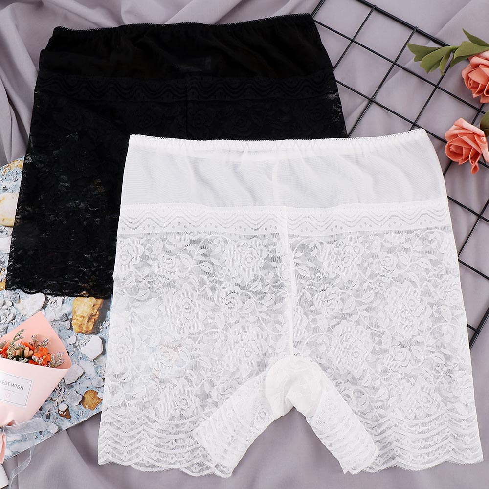 Rose Flower Lace Safety Shorts Pants Seamless Comfortable Ice Silk Transparent Women Boxer Safety Pant Women Boyshort Underwear
