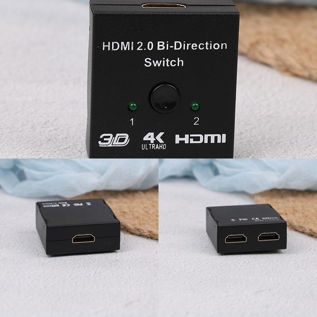Czarny 2-Port HDMI2.0 dwukierunkowy 2x1 przełącznik/1x2 Splitter 3D 1.4 V przejścia-obsługuje Ultra HD 4 K