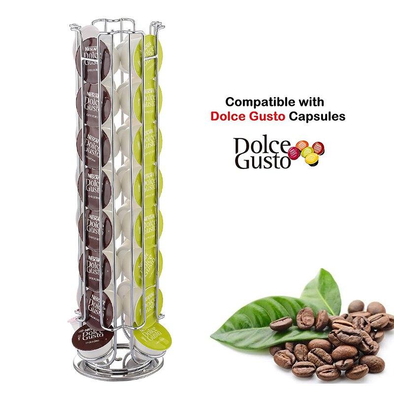 Suporte para cápsula de café rotativo, 24/32 copos, suporte de aço inoxidável, exibição, torre, estante de armazenamento para dolce gusto cápsula