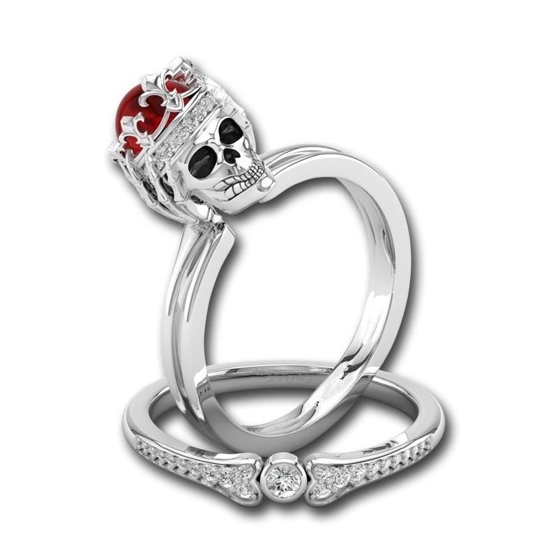 1 Juego de anillos de calavera de circonia cúbica roja Color plata esqueleto punk rock para mujer fiesta de Navidad de chicas Regalos de joyería de boda