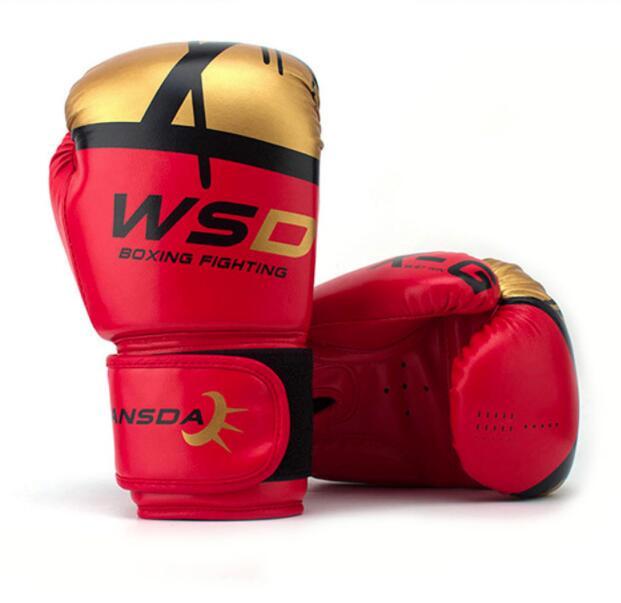 WANSDA de cuero de la PU de MMA LUCHA CONTRA guantes de Kick Boxing Karate Muay Thai 6oz 8oz 10oz 12oz