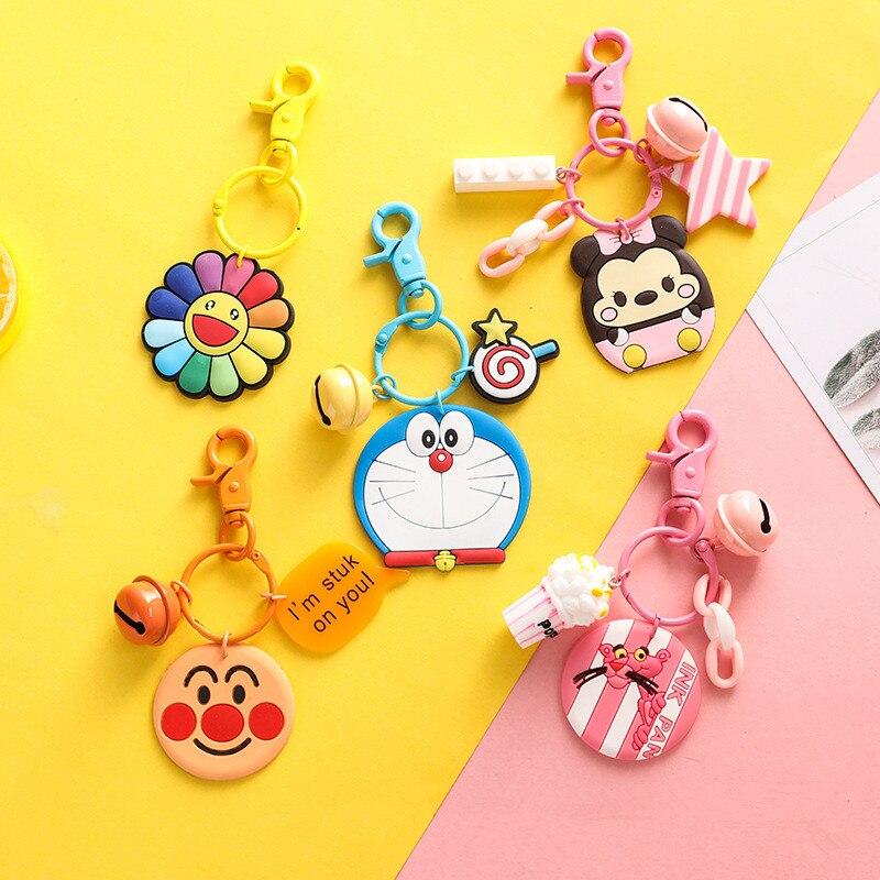 Cute Cartoon Naughty pink leopard Doraemon Anpanman Sun Flower Figure Keychain PVC Keyrings for Women Bag Charms Pendant Jewelry