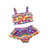 2021 Infant Girls Swimwear for Children Tassel Geometric Baby Swimsuit 2 Pieces Swimwear Toddler Girl Beach Baby Girl Swimsuit