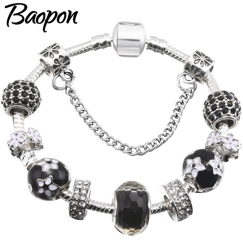 BAOPON encanto pulseras y brazaletes para las mujeres joyería Fit Original negro cuentas de cristal de Murano finas pulseras regalo Pulseira