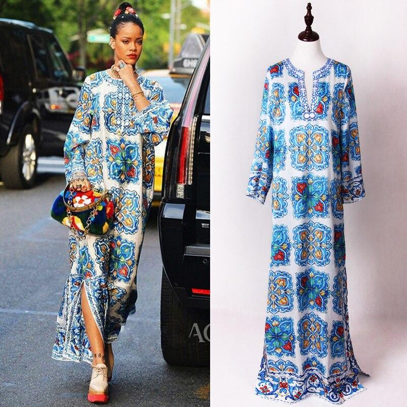 Женское платье с разрезом и длинным рукавом, синее и белое платье с принтом, расшитое вручную, с v-образным вырезом, с разрезом, новинка 2020