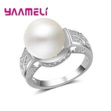 Marke Österreichischen Kristall 925 Silber Hochzeit Simulierte Perle Ringe für Frauen Vintage Neue Heißer Verkauf Partei Schmuck Geschenk
