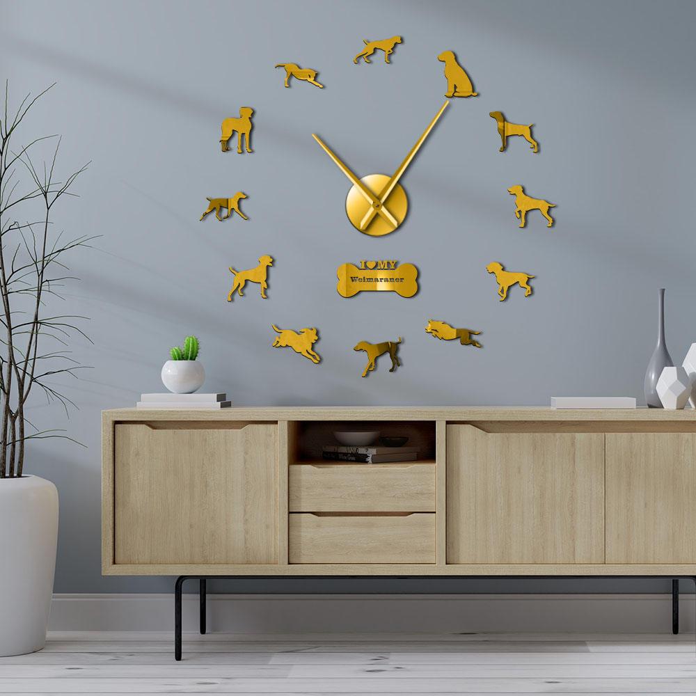 Reloj de pared moderno de perro Braco de Weimar Breed 3D acrílico DIY, reloj de pared para perros con retrato de perros, pegatinas de pared autoadhesivas, reloj para amantes de los perros
