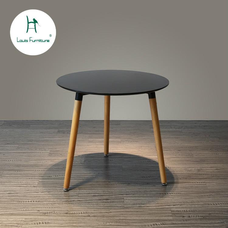 Louis Fashion Table Danish Three Legged European Kitchen Living Room Simple Fashion Solid Wood Round Table