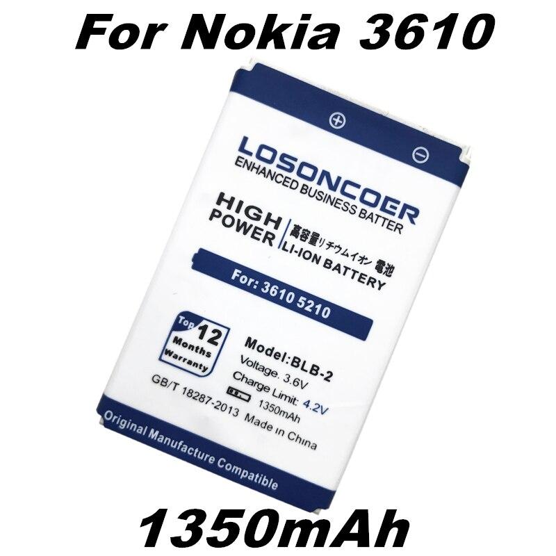 LOSONCOER 1350mAh BLB-2 BLB2 Battery for Nokia 3610 5210 Battery 6500 6510 7650 8210 8910 8910i 8250 8310 8850 8890
