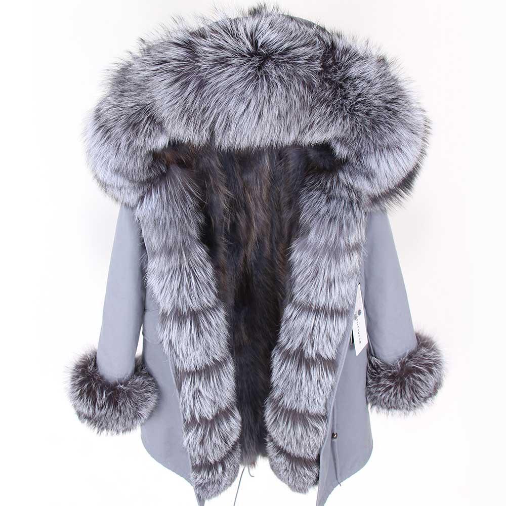 2019 Winter Jacket Women Real Fur Coat Parka Real fox collar fox fur liner black striped long coat Streetwear new fashion