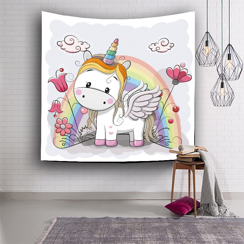 TOX lindo unicornio tapiz colgante de pared Hippie Yoga Mat sábanas cubrecama hogar tapices decorativos Toalla de playa