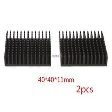 2 шт. 40x40x11 мм алюминиевый радиатор, экструдированный черный радиатор, радиатор для электронного рассеивание тепла охлаждение