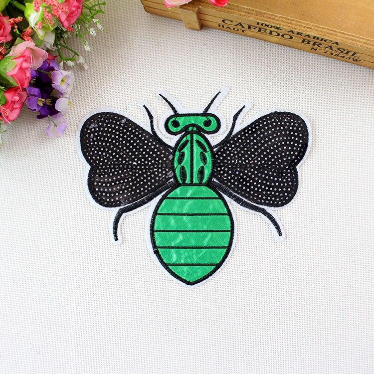 Parches de lentejuelas bordados con diseño de abeja para logo de ropa de motociclista, parche para coser en motocicleta para ropa, Tops, chaquetas de Jeans, chaleco