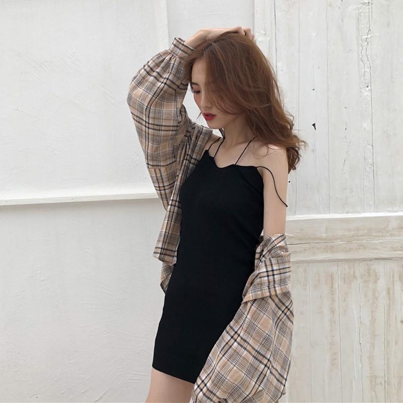 Mazefeng 2019 novas mulheres sólido camisas do vintage estilo solto camisas femininas camisas casuais senhoras xadrez moda mangas compridas