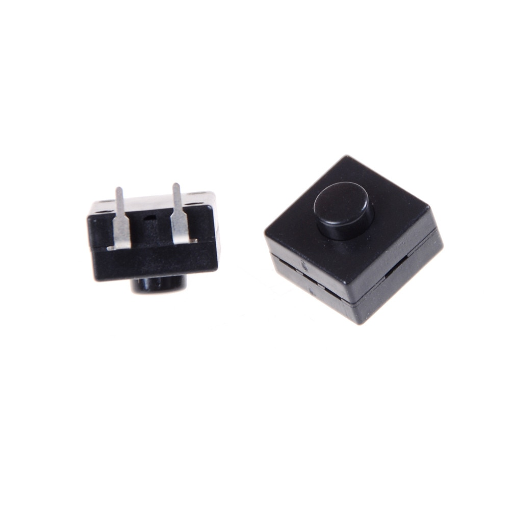 10 interruptores de llave unids/lote DIP PCB Mini interruptor de botón táctil de enclavamiento 12x12x9mm