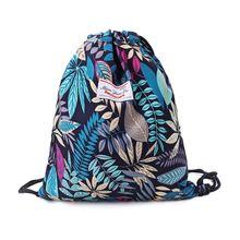 Sac à cordon feuille florale sacs à dos sac de Cinch sac de sport sac à dos pour la randonnée Yoga salle de sport natation voyage plage