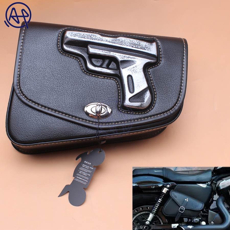 1pcs Motorcycle Black PU Leather Right side Gun Logo Saddlebag Saddle Bag Universal For Harley Sportster XL883 1200