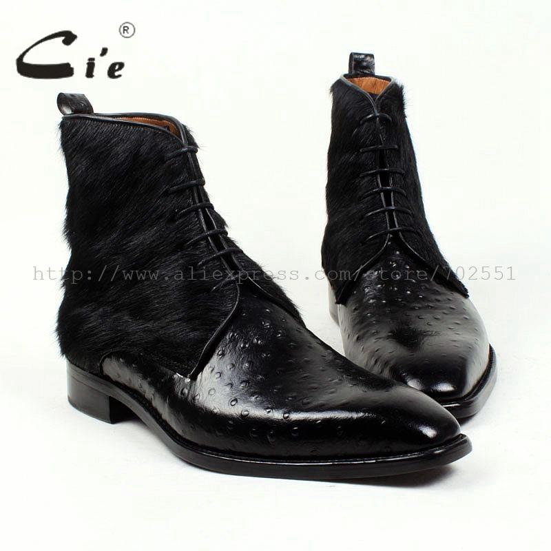 Cie darmowa wysyłka Handmade włosia końskiego/Empossed strusia skóra cielęca podeszwa Buttom oddychający kolor czarne męskie skórzane buty A86