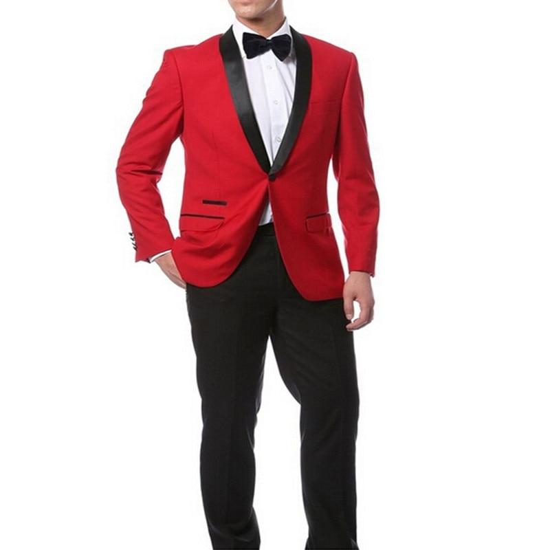 Red Jacket + Black Pants and Bow Tie Hankerchief Groomsmen Shawl Lapel Groom Tuxedos Side Vent Men Suits Wedding Best Man