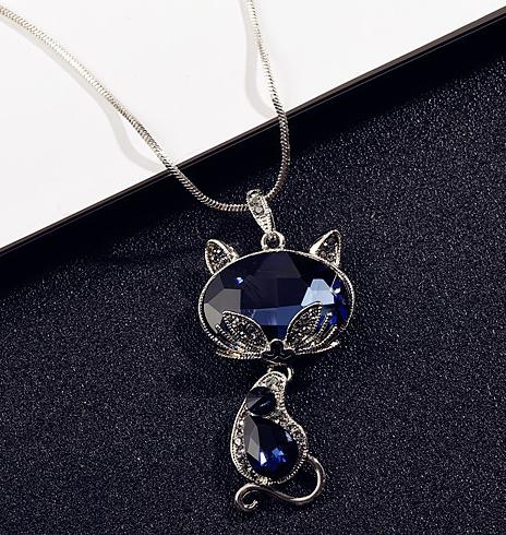 Женское длинное ожерелье и кулоны, с синими кристаллами и лисой