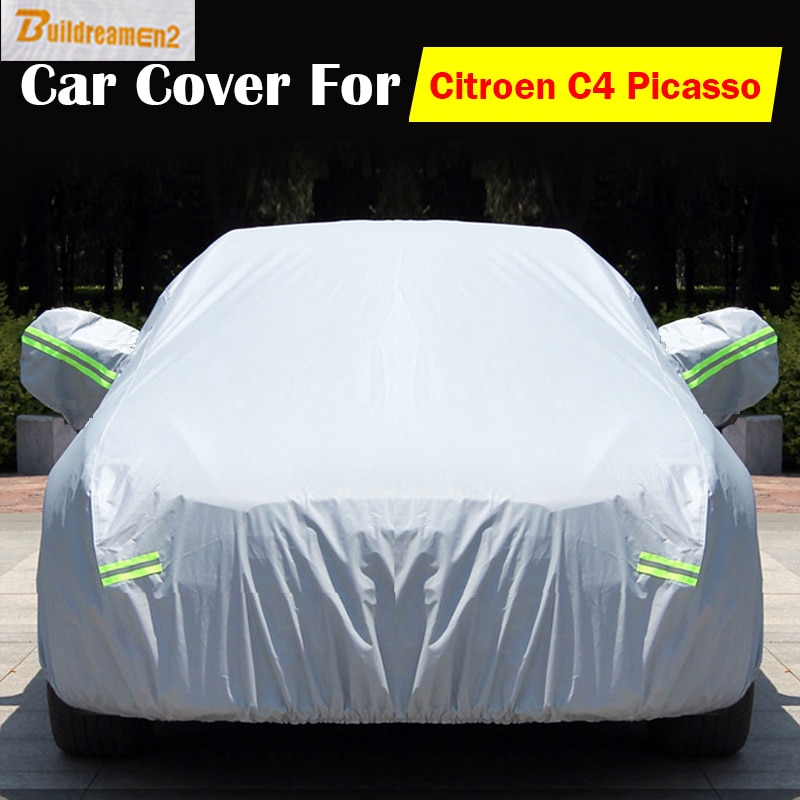 Buildreamen2 Vehicle Car Cover Anti UV Scratch Rain Snow Frost Sun Preventing Cover Waterproof Dustproof For Citroen C4 Picasso