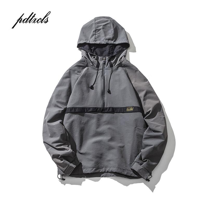 Vintage Color Block Patchwork Windbreaker Hooded Jackets 2019 Men's Hip Hop Full Zip Up Pullover Tracksuit Streetwear Thin Coats
