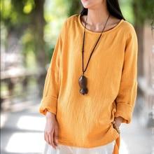 2020 automne femmes Vintage & blouse décontractée, confortable décontracté coton lin chemises, grande taille femmes blouse S-5XL 6XL