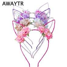 AWAYTR-bandeau oreilles de chat pour filles   Jolis cerceaux de cheveux de fleur, bandeau de fête, coiffe de mariage, accessoires de cheveux