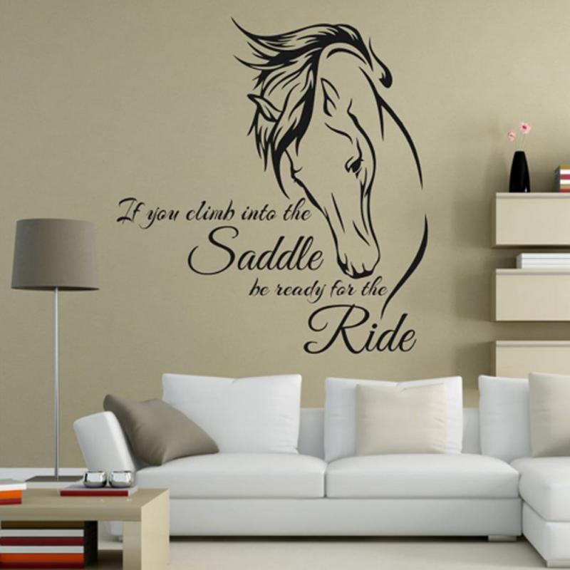 Съемная Наклейка на стену для верховой езды виниловое искусство, если вы заберетесь в седло, будьте готовы к езде, декор для лошади, Настенная Наклейка
