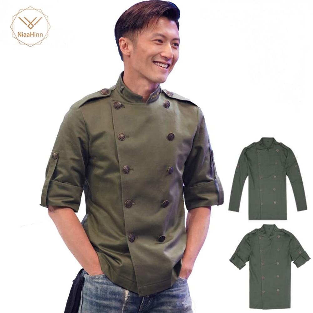 Hombres de manga corta transpirable de doble pecho Chef servicio de comida cocina ropa de trabajo camiseta de trabajo de cocina uniformes delantales nuevo