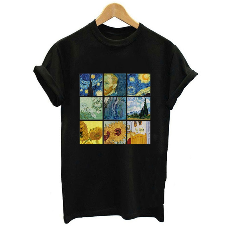 Nuevo Van Gogh arte impreso camiseta negro o-Cuello de manga corta Casual Harajuku Tumblr Tops Streetwear Tee camiseta