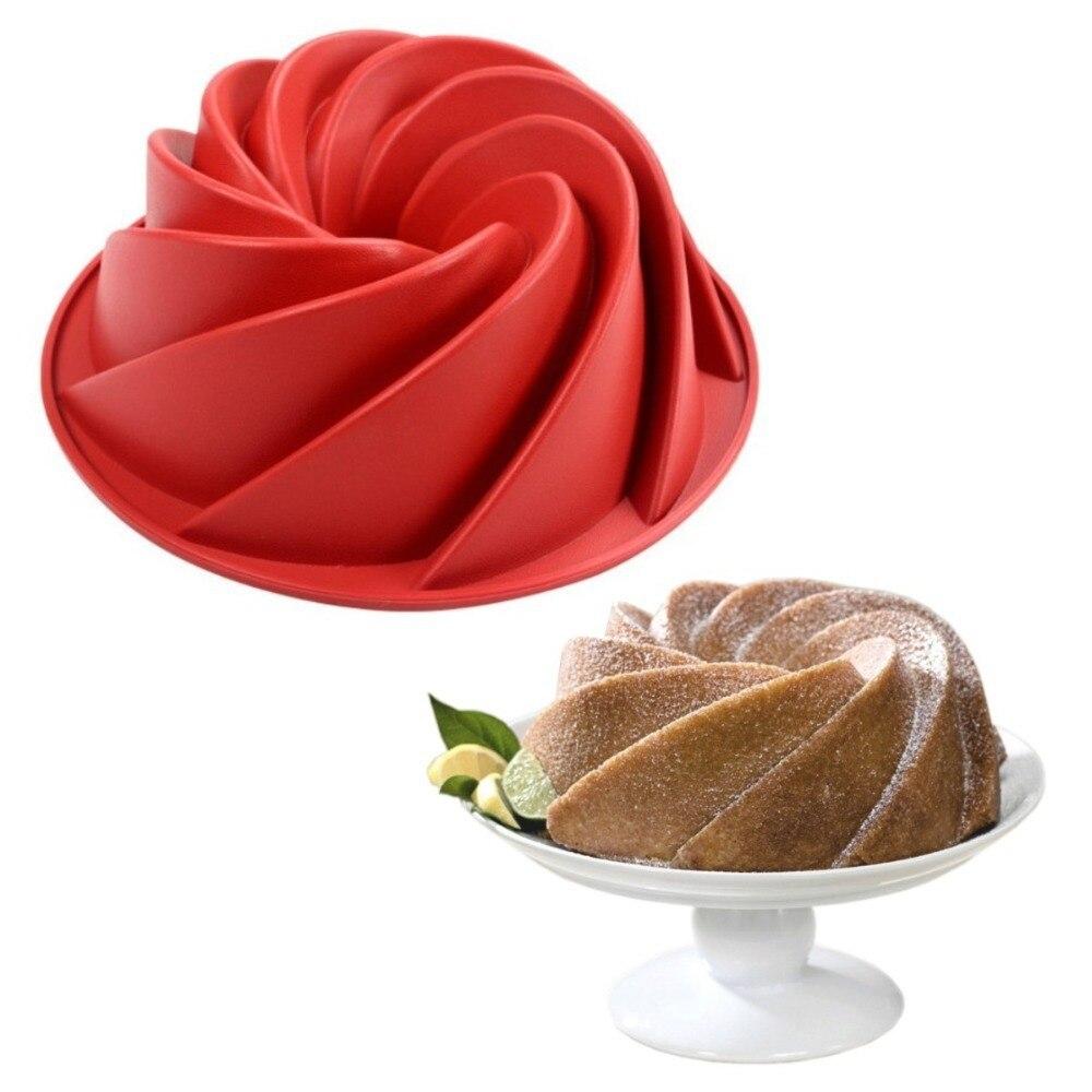 Nuevo 3D gran remolino de silicona con forma de mantequilla molde de la torta de la hornada de la cocina forma herramientas para pastel de panadería plato para hornear molde para hornear torta de Pan