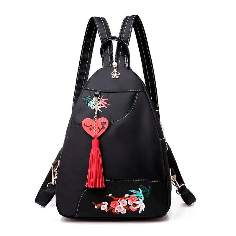 Женские рюкзаки из ткани «Оксфорд» для девочек, женские рюкзаки с вышитыми цветами, школьные сумки для девочек, 2019