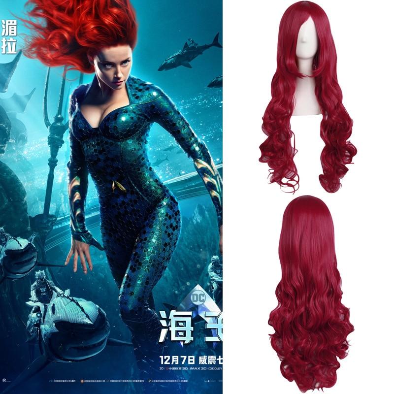 Película de la Liga de la justicia Aquaman Mera peluca Aquaman cosplay de roles Poseidón pelo fiesta de Halloween Prop