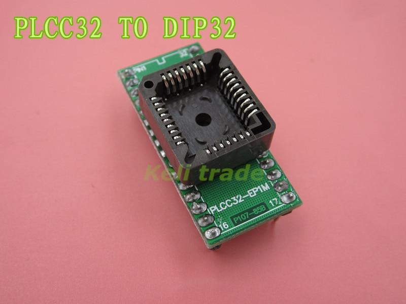 50 unids/lote PLCC32 a DIP32 programador adaptador de circuito integrado hembra