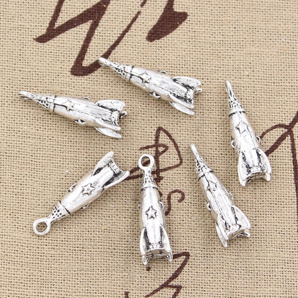 4pcs Charms Rocket Missile Spaceship 24x9x9mm Antique Making Pendant fit,Vintage Tibetan Bronze,DIY Findings Jewelry