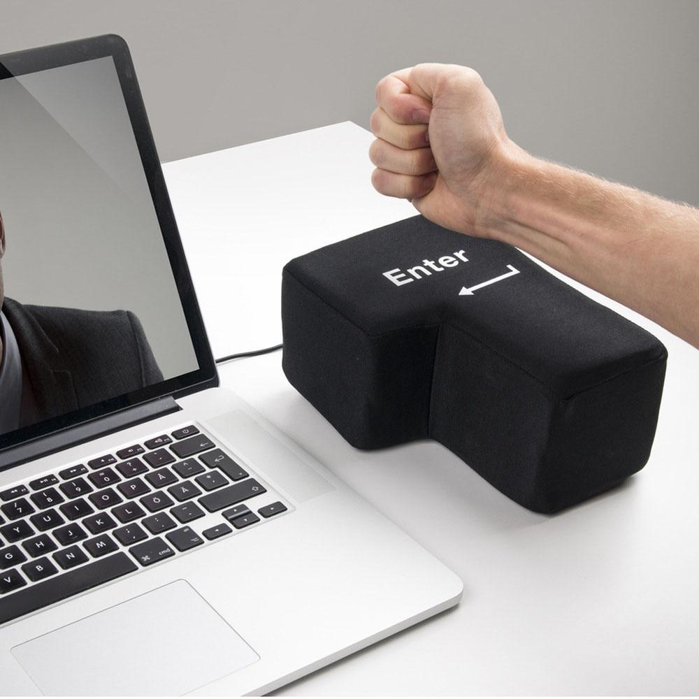 Big Enter Desktop Cushion Pillow Hand RESTS New Arrive Super Sized Enter Key USB Stress Punch Bag Washable Removeble Cushion