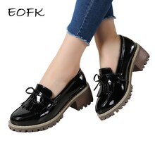EOFK Women Shoes Women's Shoes Woman Fashion High Quality Slip On Patent Leather Classic Tassel Bowtie Ladies Pumps