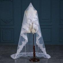 2020 image réelle 3 mètres une dentelle à plusieurs niveaux longue élégante mariage voile de mariée sans peigne dentelle bord voiles de mariage