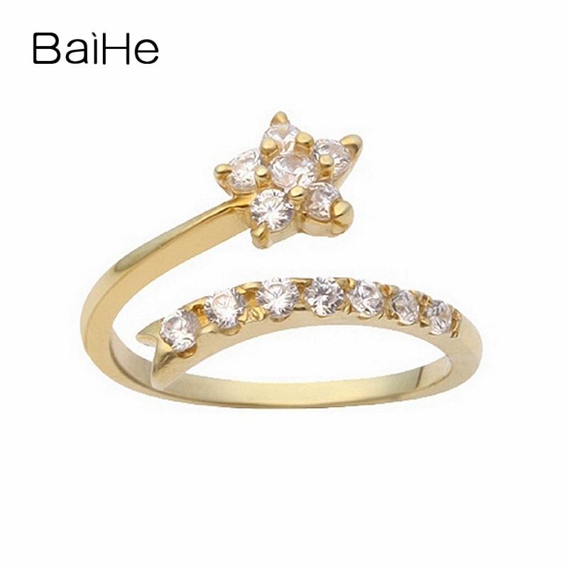 BAIHE-خاتم من الذهب الأصفر عيار 18 قيراطًا مرصع بالألماس الطبيعي ، خاتم خطوبة دائري 0.40 قيراطًا للنساء ، مجوهرات راقية ، خاتم خطوبة على شكل نجمة