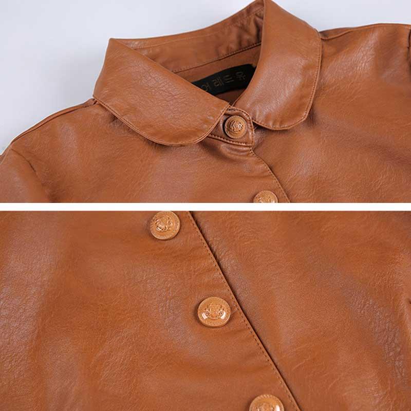 Thickening Women wear PU Leather Jacket Parka Autumn Fashion Long Plus size Leather Windbreaker Long Coat WZ791 chaqueta mujer enlarge
