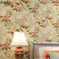beibehang american retro floral garden to do the old wind flocking non woven wallpaper papel de parede