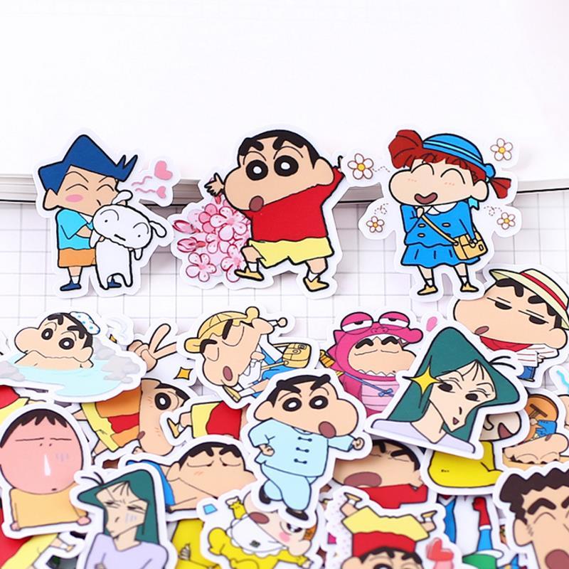 46 unids/pack creativo kawaii hecho a sí mismo crayón de dibujos animados Shin-chan pegatinas decorativas de álbum de recortes pegatinas pegatina de juguete clásico regalo