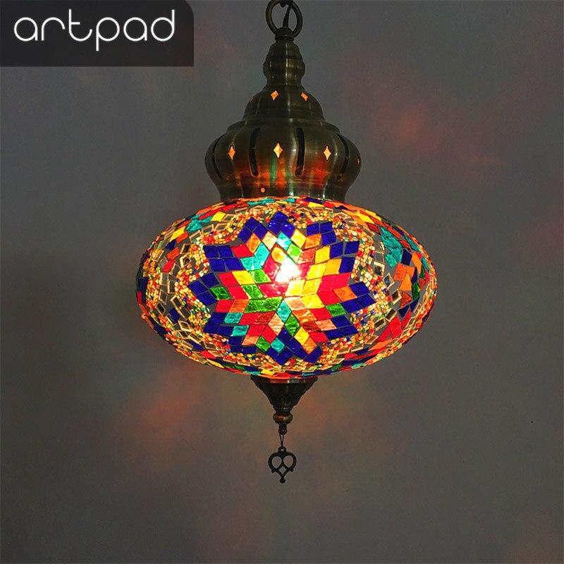 Artpad Турецкая лампа, цветное стекло, светильник E14, теплый белый, для спальни, бара, коридора, балкона, для дома, кухни, светильник, осветительн...