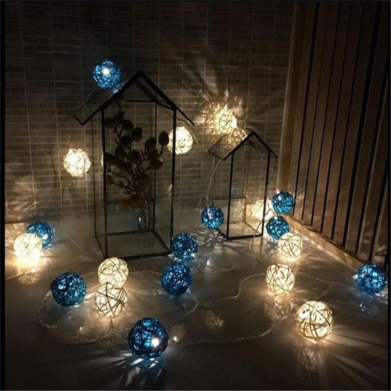 Lovely 28Led 16.4ft Warm White Led  White Blue Rattan Ball String Lights Fairy Light for Indoor Christmas Tree Decorations