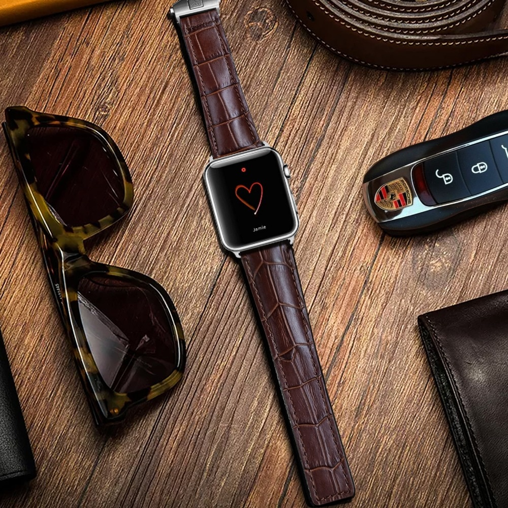 AKGLEADER Watch Band For Apple Watch Series 4 Wrist Bracelet Folding Buckle Genuine Leather Strap For Apple Series 1 2 3 38-44mm enlarge